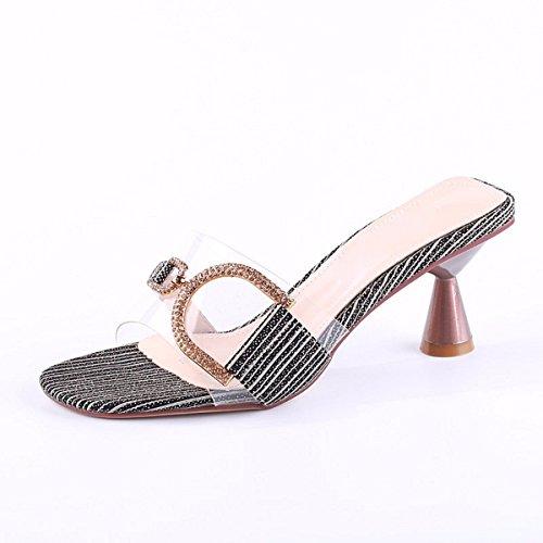 KPHY Zapatos de Mujer/High Heel Zapatillas Rough Heels De Moda Hembra Arrastrando Sexy Transparente Agua Taladro Palabra Drag gray