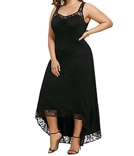 Zaaale Women's Plus Size Spaghetti Strap Lace High Low Bodycon Clubwear Dress (2XL, Black)