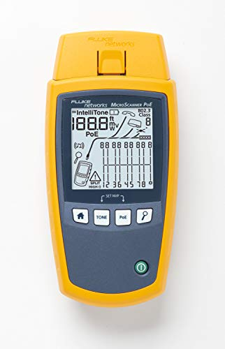 Fluke Networks MS-POE MicroScanner Copper Cable Verifier and PoE tester for RJ-45 Category 5-6A Ethernet Cables, Identifies Supplied Class 0-8 Power from Ethernet PSE Devices - Fluke Networks Microscanner