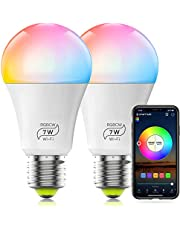 HaoDeng WiFi LED Light, 2Pack Smart Bulb -Timer& Sunrise& Sunset- Dimmable, Multicolor, Warm White (Color Changing Disco Ball Lamp) - 7W A19 E27(60W Equivalent), Compatible with Alexa, Google Home Assistant and IFTTT