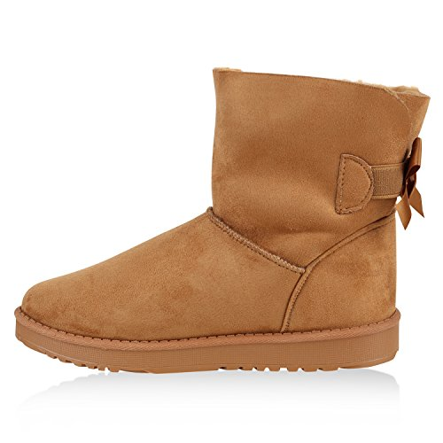 Damen Schlupfstiefel Warm Gefütterte Stiefel Stiefeletten Winter Boots Bommel Pailletten Glitzer Snake Print Schuhe Flandell Braun Schleife