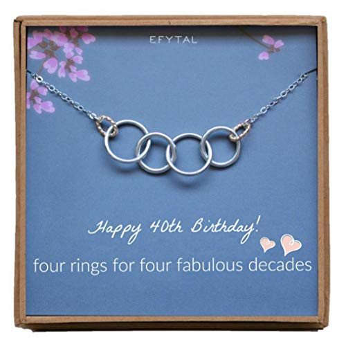 EFYTAL Happy 40th Birthday Gifts for Women Necklace, Sterling Silver 4 Rings Four Decades Necklaces Gift Ideas
