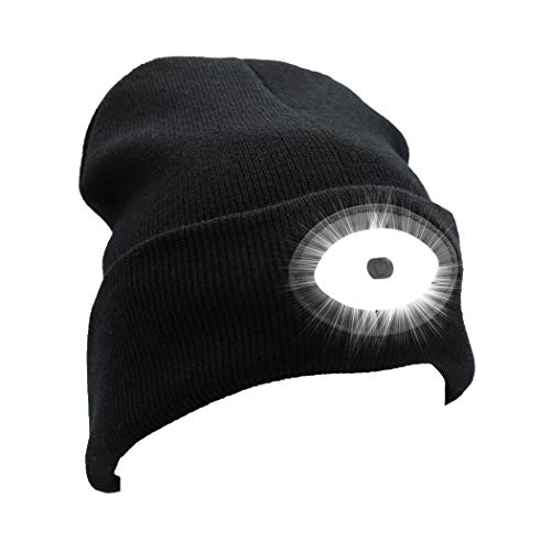 Rotus Extreme Bright Rechargeable LED Beanie Hat with High Speed Android Charging Cable, Unisex Winter Stocking Sock Cap with 12 Built-in LED Lights, Black