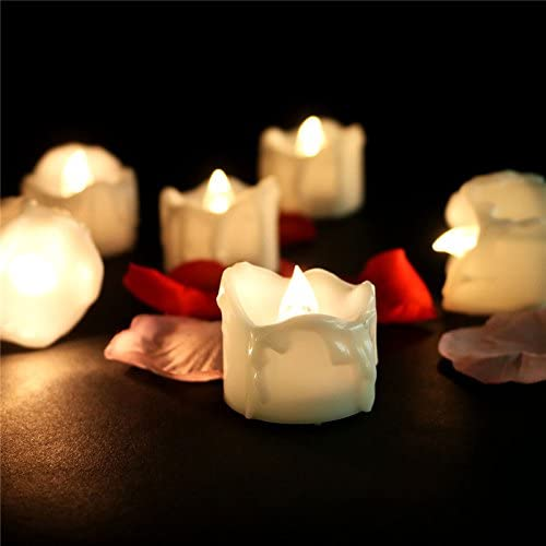 PinUp Angel 200 Hours Long Lasting Led Votive Candle Warm White Flickering Flameless Tear Drop Realistic Artificial Small Mini Battery Operated Tealight Candle for Christmas Halloween, 24PCS, 6012F
