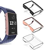 Goton Compatible for Fitbit Charge 3 Case Cover Screen Protector, (3 Color Packs) Soft TPU Shockproof Full Cover Case Bumper Protector