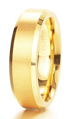 King Will 6mm Matte Finish Tungsten Carbide Ring 24K Gold Plated Comfort Fit Wedding Band(10)