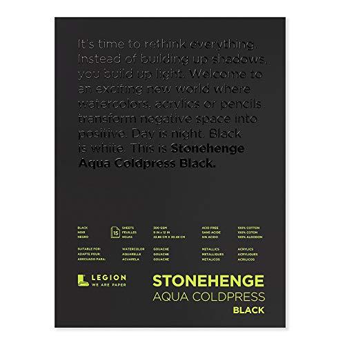Legion Stonehenge Aqua Watercolor Pad, 140lb, Cold Press, 9 by 12 Inches, Black Paper, 15 Sheets (L21-SQC140BK912)