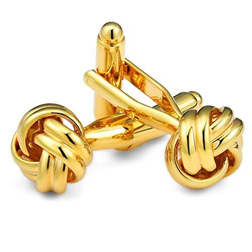 Tuxedo Knot (CAT EYE JEWELS Men's Cufflinks Gold Twist Knot for Luxurious Tuxedo Formal Shirts Kit Wedding Business Gift)