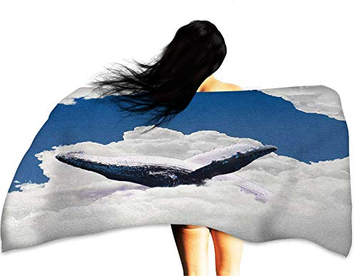 Sports Towel Animal Giant Creature of The Oceans Big White Whale Floats in Clear Open Sky Artwork W31 xL63 Suitable for bathrooms, Beaches, Parties