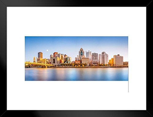(Poster Foundry Pittsburgh Pennsylvania Downtown Skyline Panoramic Photo Matted Framed Wall Art Print 20x26 inch)