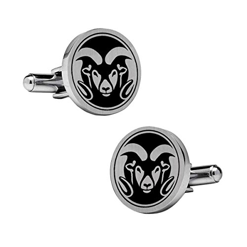 Colorado State Rams Cufflinks Stainless Steel 18mm Round with Bullet Back and Brushed Surface. Collegiate Cufflinks. Top is Approximately the Size of a Dime.
