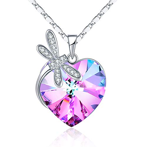 GAEA H Love Heart Dragonfly Necklace, Crystal from Swarovski Jewelry Pendant Necklaces for Women Christmas Birthday Gifts (Pink)