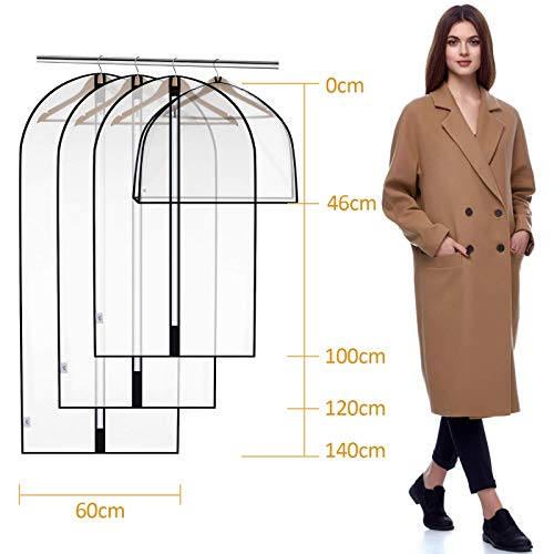 king do way Hanging Garment Bag Pack of 8 Lightweight Full Zipper PEVA Suit Bags Washable Breathable Garment Cover for Closet Clothes Wardrobe Hanging Clothing Storage 4size