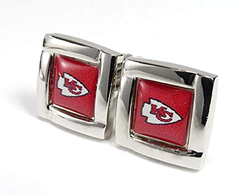 aminco NFL Kansas City Chiefs Logo Square Cufflinks with Gift Box Set, One Size, Silver