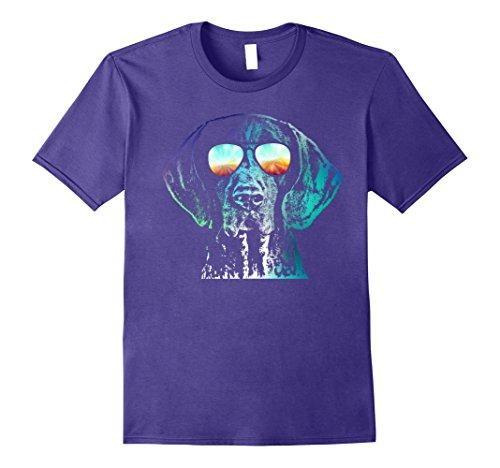 Mens German Shorthaired Pointer Neon Dog Shirt XL Purple
