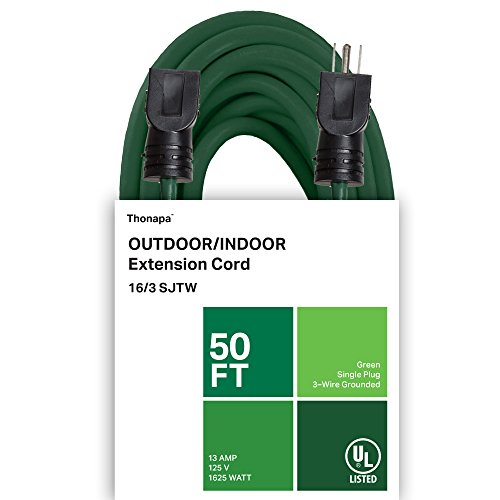 Thonapa Outdoor Extension Cord - 16/3 SJTW Durable Green Cable - Great for Garden and Major Appliances (50 Foot)