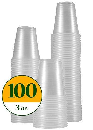 DisposoWare 3 oz. Disposable Plastic Cups [100 Pack]