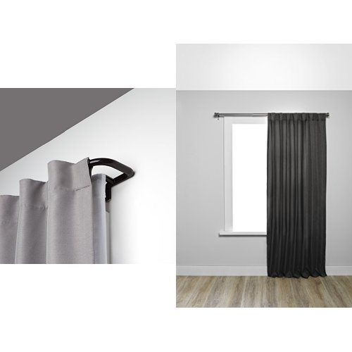 Umbra Twilight Room Darkening Double Curtain Rod in Bronze and Two Kensington Black-Out Curtain Panels in Midnight