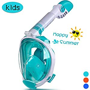 OUSPT Full Face Snorkel Mask, Snorkeling Mask with Detachable Camera Mount, 180° Large View Upgraded Dive Mask with Newest Breathing System, Dry Top Set Anti-Fog Anti-Leak (Kids-Green, XS)