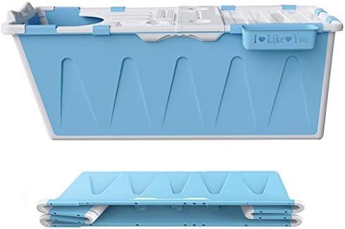 バスバレル 折りたたみ式家庭用大人用バスバレル シングル大人用バスタブ 保温肥厚折りたたみ式バスタブ(最大負荷100kg) (Color : Blue, Size : 120*53*63cm)