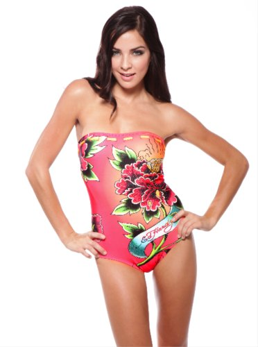 ED Hardy DIAMOND ROSE Strapless One Piece Swimsuit (Small, Red with Rhinestone)