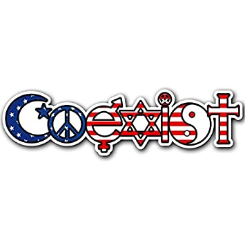 Coexist usa sticker decal religion peace muslim christian bumper sticker car truck laptop macbook