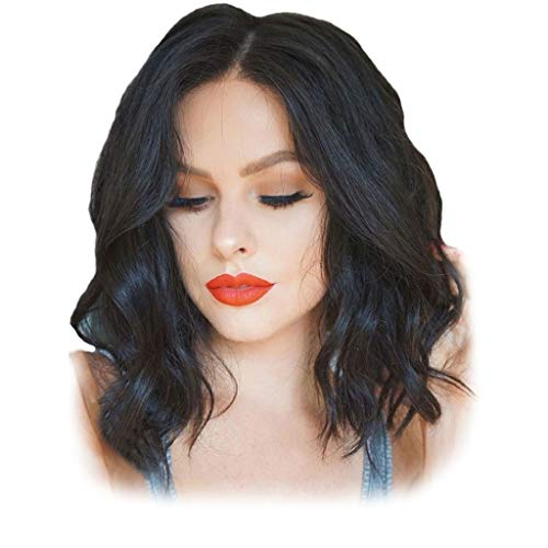 InKach Lace Front Short Wavy Wig | Black Women Curly Bob Human Hair Full Wigs | Ladies Girls Hairpiece Costume Party Synthetic Wig (Black)