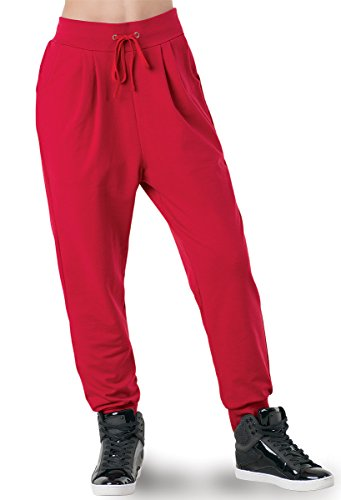 Balera Harem Sweatpants Red Adult Medium - Adult Dance Sweatpant
