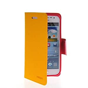 GETLAST [Yellow] Beautiful Magnetic Buckle Leather Wallet Stand Case Cover For Samsung Galaxy Win I8550