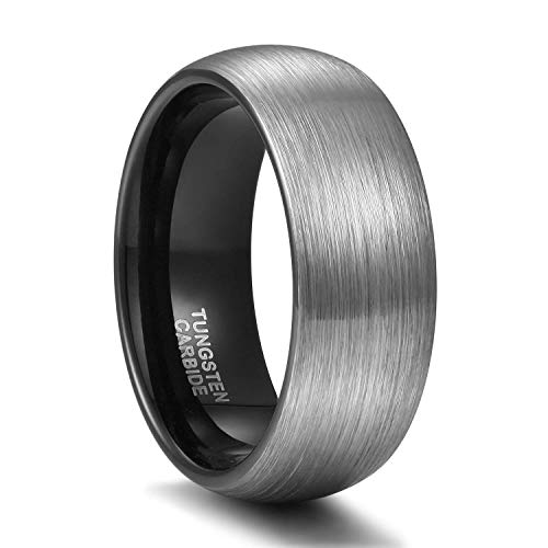 Titaniumcentral 6mm 8mm Damen Herren Wolfram Ring Ehering Hochzeitsband Trauringe Pinsel Silber mit Schwarz Blau