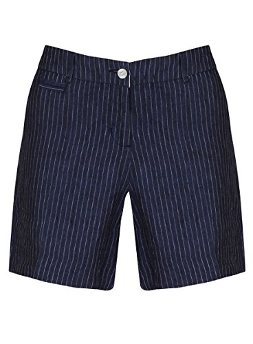 Navy Linen Pinstripe Shorts 6 - (6, Navy)