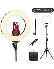 LED Ringlicht, ESDDI 14 Zoll Dimmbares bi-Color 3200-5800K, 45W 360 LEDs Ringleuchte mit Lichtstativ Handyhalter und biegehalterung für YouTube Videos Fotografie,Make up,Porträt, Vlog,Selfie