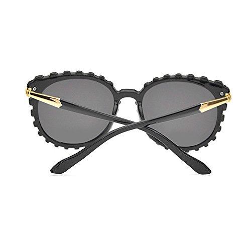 forma de mujeres la Retro plástico las de los de la Gafas Gafas de sol y sol de hombres conducción Protección para de de UV unisex para Negro via Gafas personalidad marco sol bordeadas sol Gafas de ondulada x5rqqXZ