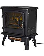 """Pleasant Hearth ES-217-10 17"""" Infrared 2 Stage Heater Electric Stove, Black"""