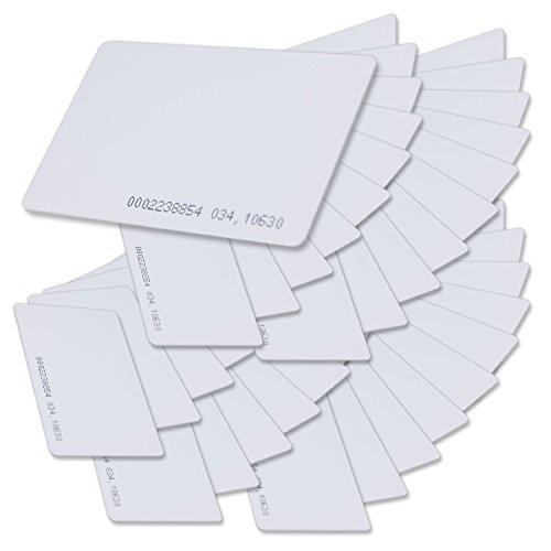 SainSmart Generic White Plastic Contactless 125kHz TK4100 EM4100 RFID Proximity ID Smart Entry Access Card (Pack of 100)