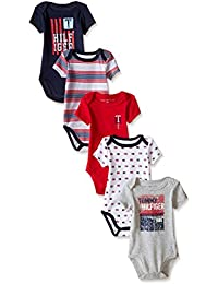 Baby Boys' Short Sleeved Striped and Solid Bodysuits (Pack Of 5)