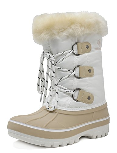 Beige Snow Boots (DREAM PAIRS Big Kid Forester Beige White Ankle Winter Snow Boots Size 4 M US Big Kid)
