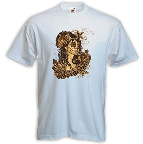 Hot Rod T-Shirt Drop Dead weiß Vintage Rockabilly Tattoo Pinup Gr. M