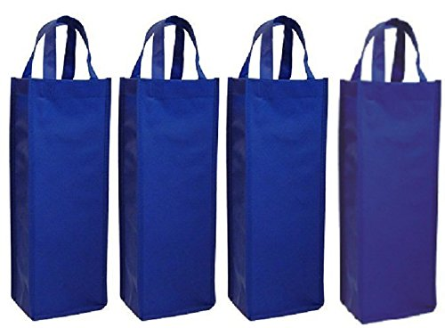 wish you have a nice day 4 Pack Non-Woven Single Bottle Wine Tote Bag Holder, Reusable Gift Bag (4, blue) ()