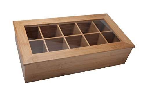 10 Compartment All Natural Bamboo Tea Box for Storing All Teas and Spices in One Container Compact Organizer Chest with Clear Window Display Lid Wood Tea Bag Caddy / (Spice Storage Box)