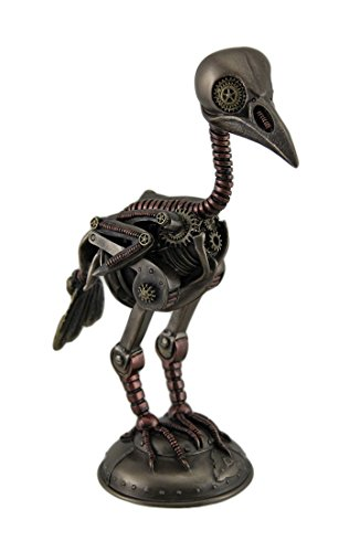 [Steampunk Crow Skeleton Antique Bronze Finish Statue] (Steampunk Decorations)