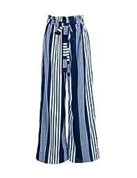 Fotoostore - Pantalones Largos para Mujer, Estilo Casual, Cintura Alta, con cinturón Vertical, diseño de Rayas