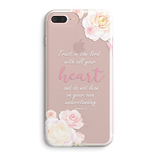 iPhone 8 Case,iPhone 7 Case for Girls,Flower Vintage Roses Christian Bible Verses Inspirational Motivational Pink Floral Proverbs 3:5 Trust Lord Heart Soft Clear Case Compatible for iPhone 7/iPhone 8