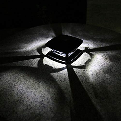LARNOR Outdoor Solar Post Light Garden Decoration Light Garden Wood Post Light Floor Light (White, 15.8x15.8x10cm) ()