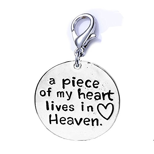 - SEXY SPARKLES Memorial Charm for Your Lost Ones a Piece of My Heart Lives in Heaven Clip on Lobster Clasp Charm