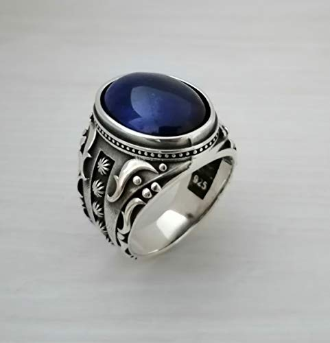 Beautiful Handcrafted 925K Solid Sterling Silver Blue Cat Eye Men's Ring