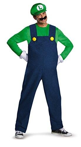 Halloween Costumes Rich Man (Disguise Super Mario Luigi Deluxe Mens Adult Costume, Green/Blue,)