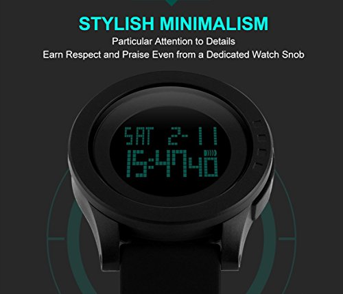 Aposon Men's Digital Electronic Waterproof LED Sport Watch Casual Quartz Military Multifunction 12H/24H Time Back Light with Simple Design 164FT 50M Water Resistant Calendar Month Date Day -Black