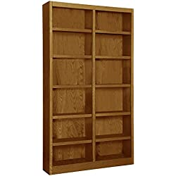 "Wooden Bookshelves Double Wide 84"" Bookcase Library Shelving 12 Shelf (Dry Oak)"
