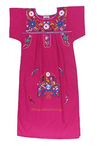 Mexican Clothing Co Womens Mexican Dress Peasant Tehuacan Poplin Small Pink Midi 4503
